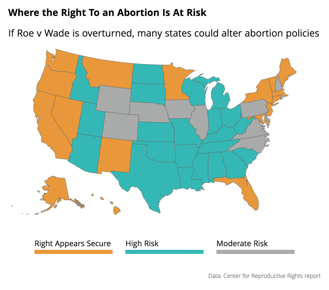 Abortion Could Be Outlawed In States If Roe V Wade Overturned - Map of legal abortion us