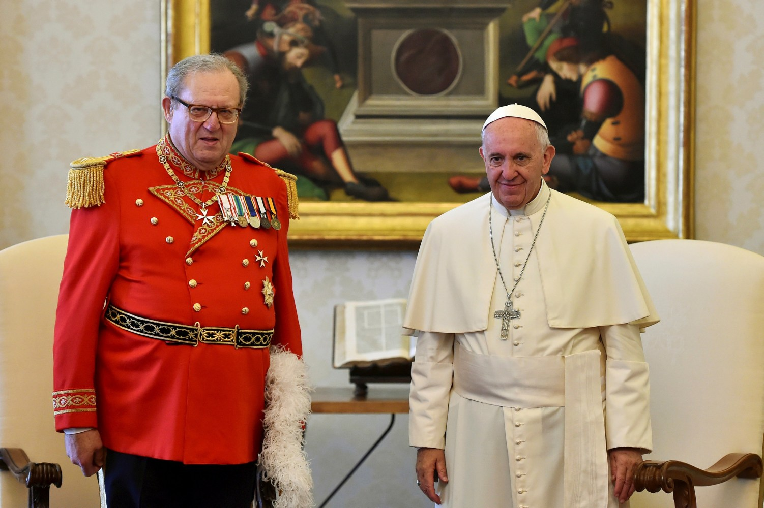 Image Pope Francis meets Robert Festing in this June 2016 file