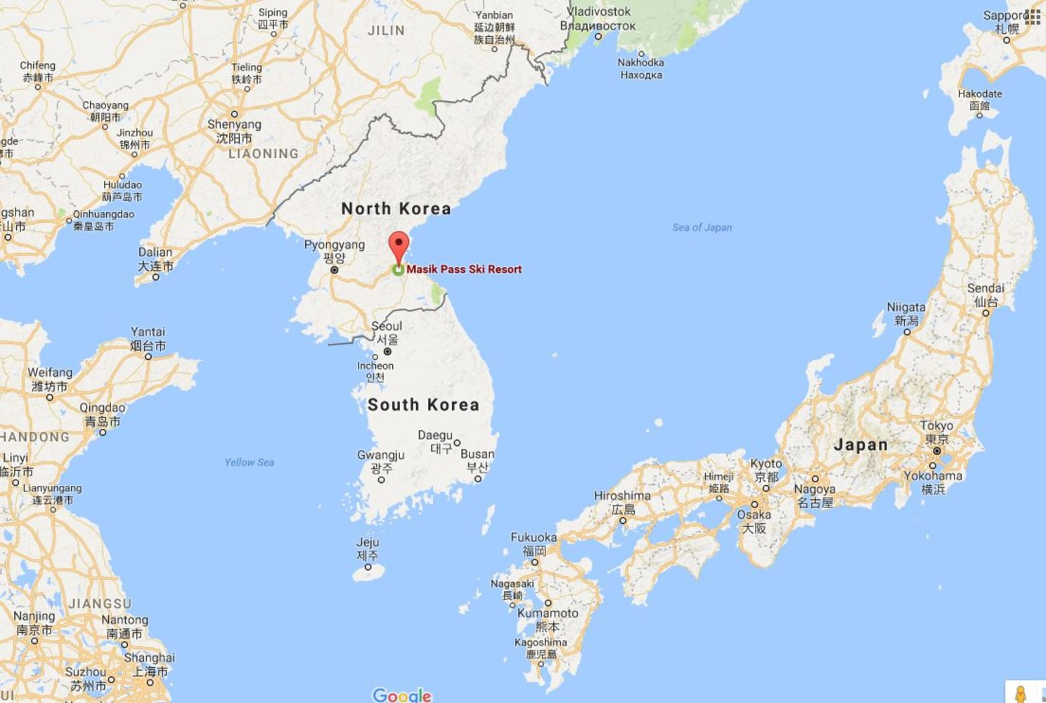 Image A Map Showing The Location Of North Korea S Masikryong Ski Resort