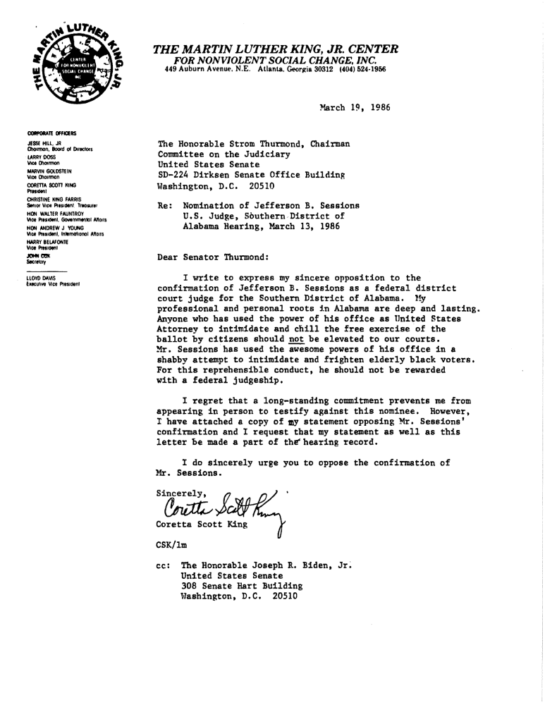 Coretta Scott King S Sessions Letter