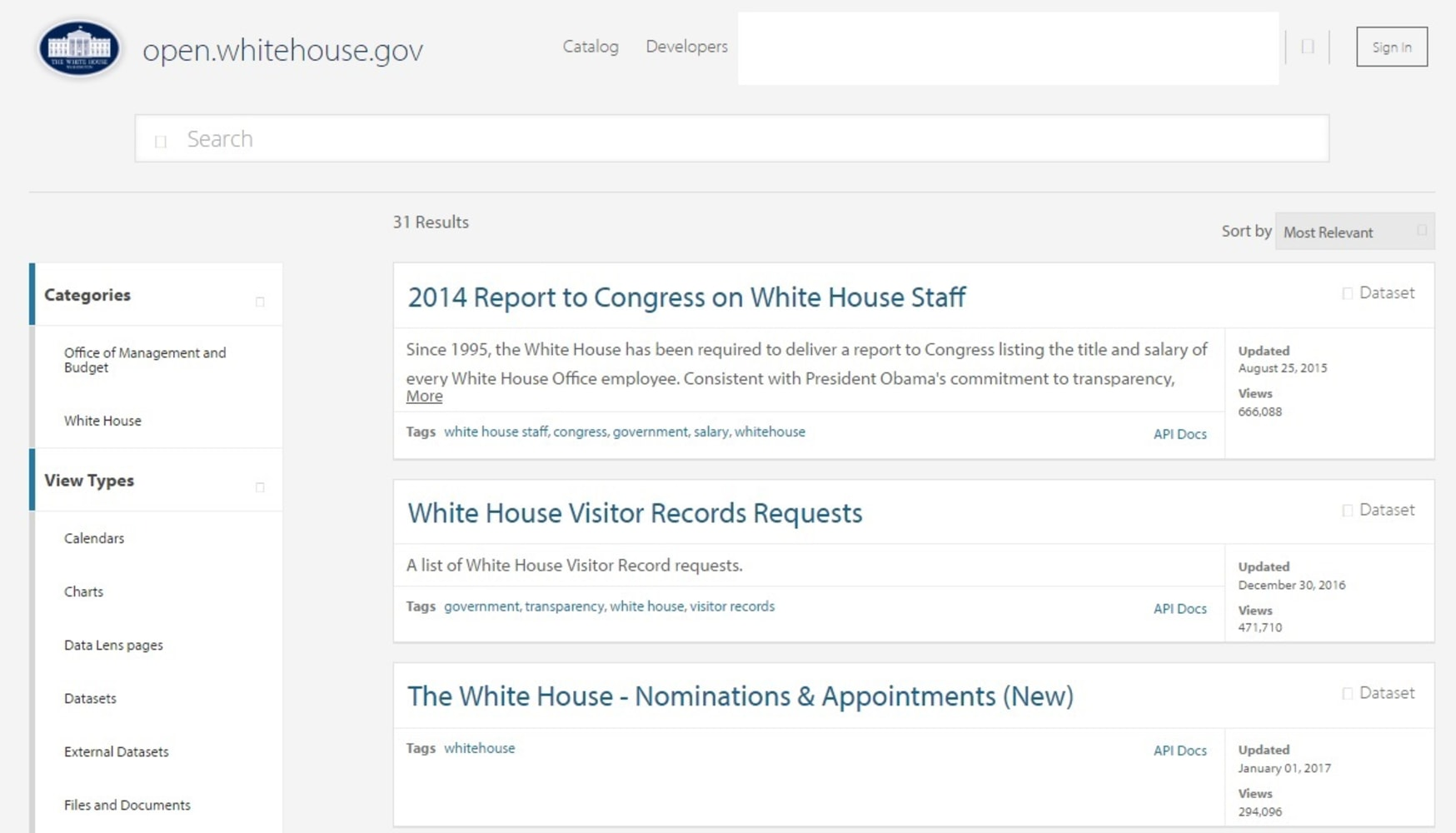 Image  White House Open Portal on Jan  28  2017. Many of Public Documents Still Missing From White House Website