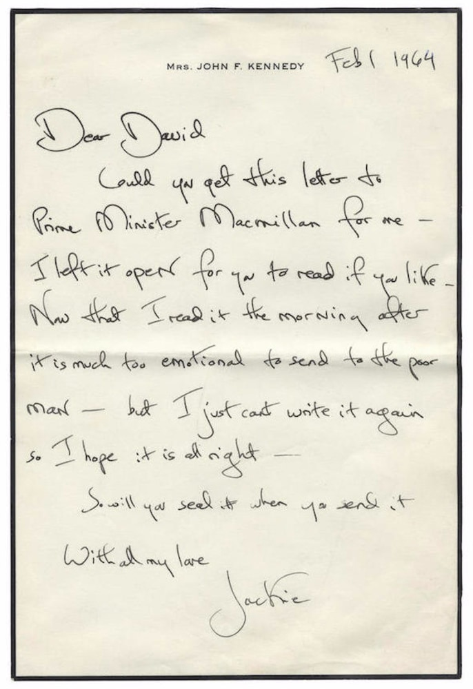 image letters that jackie o sent to david ormsby gore are being auctioned off after