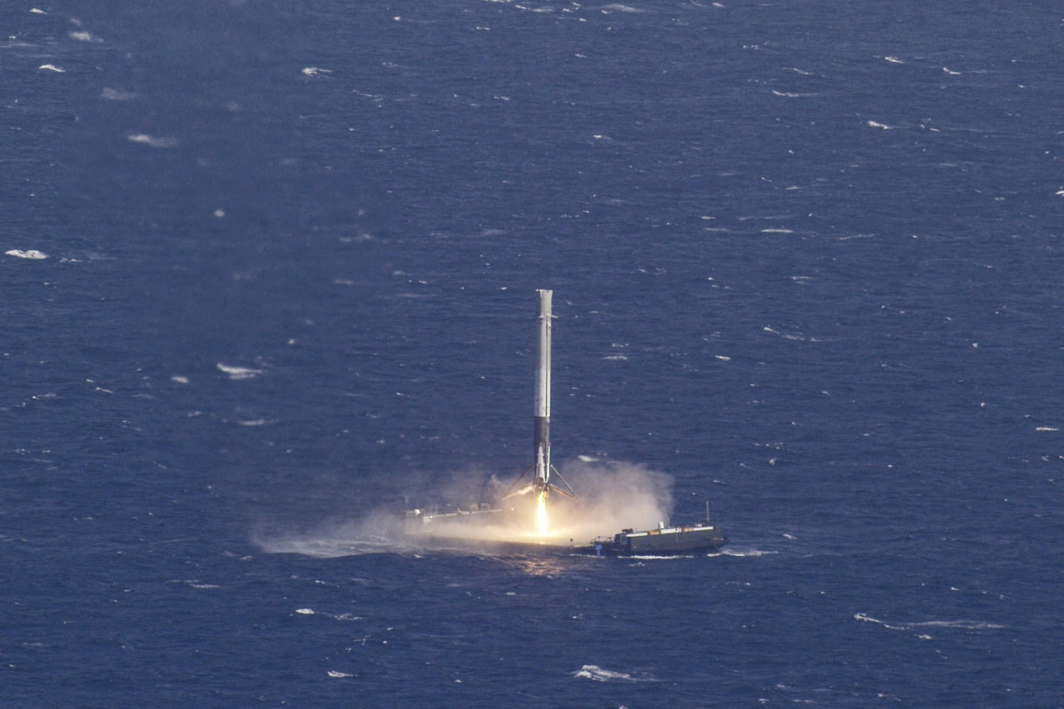 image handout photo of the reusable main stage booster from the spacex falcon 9