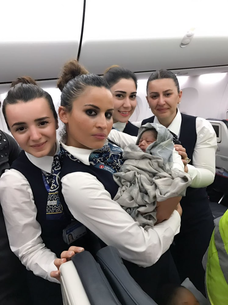 Turkish Airlines Cabin Crew Deliver Baby Girl Mid Flight