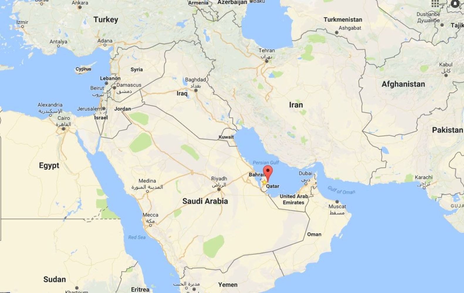 Saudi Arabia Accuses Qatar Of Backing Terrorism Cuts Ties NBC News - Map of qatar and egypt