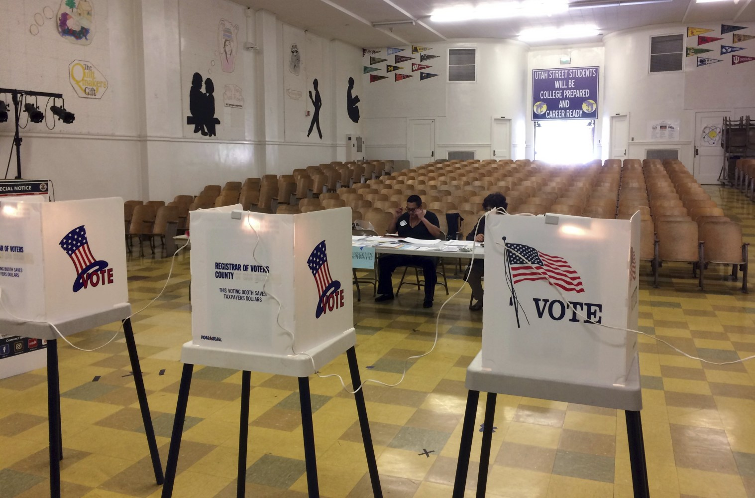 Poll Workers At A Precinct At An Elementary School Near Downtown Los Angeles Wait For Voters In The Special Election To Fill An Open Seat In The 34th