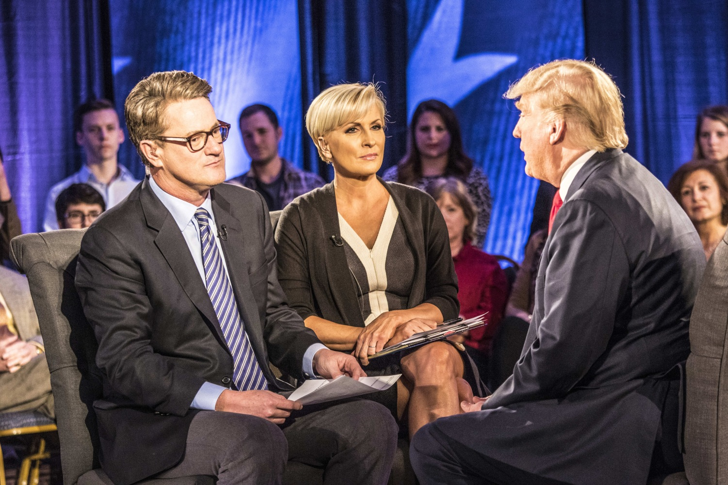 Image Joe Scarborough and Mika Brzezinski moderate a town hall with Donald Trump in Charleston