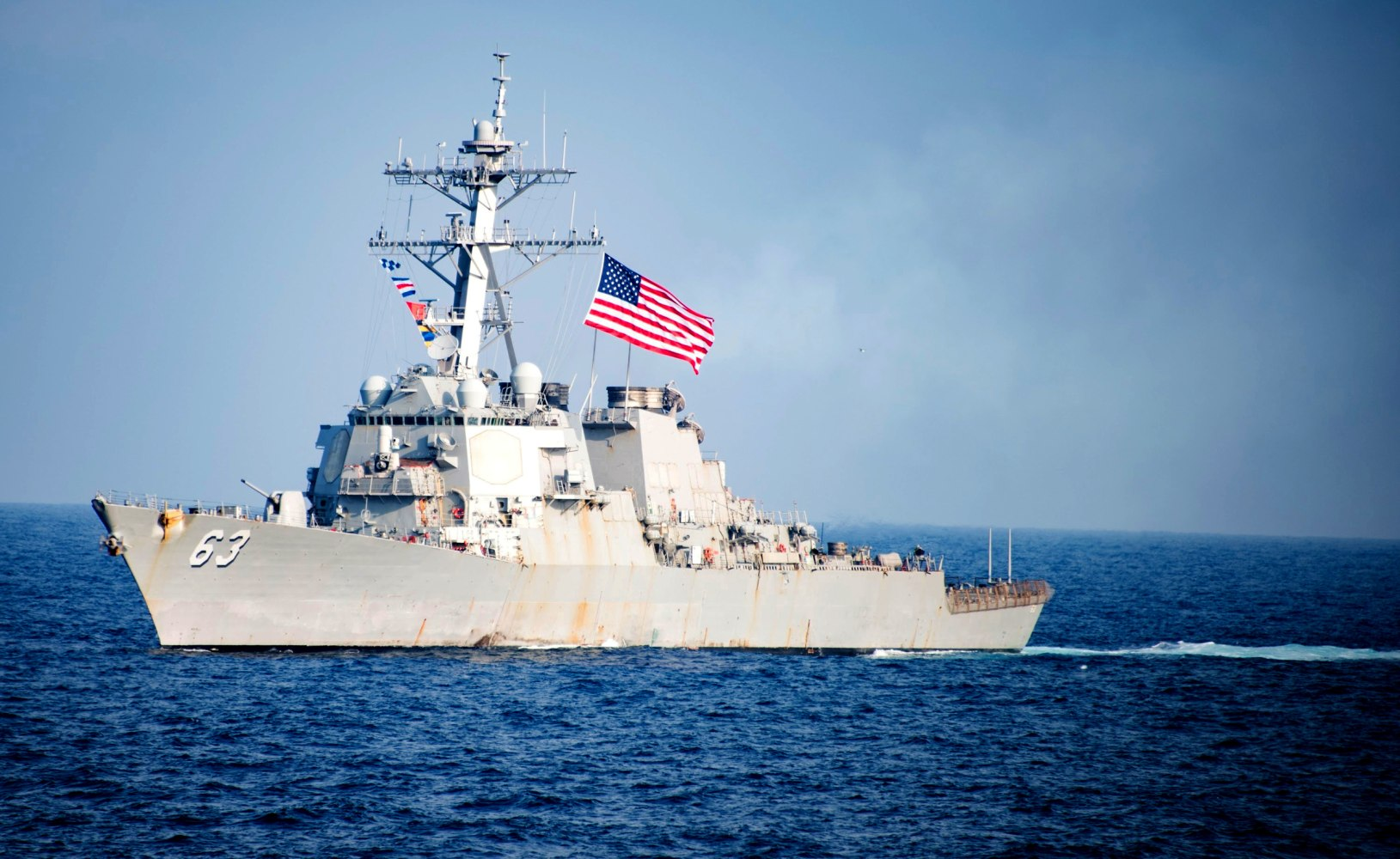United States  warship sails close to South China Sea island occupied by Beijing