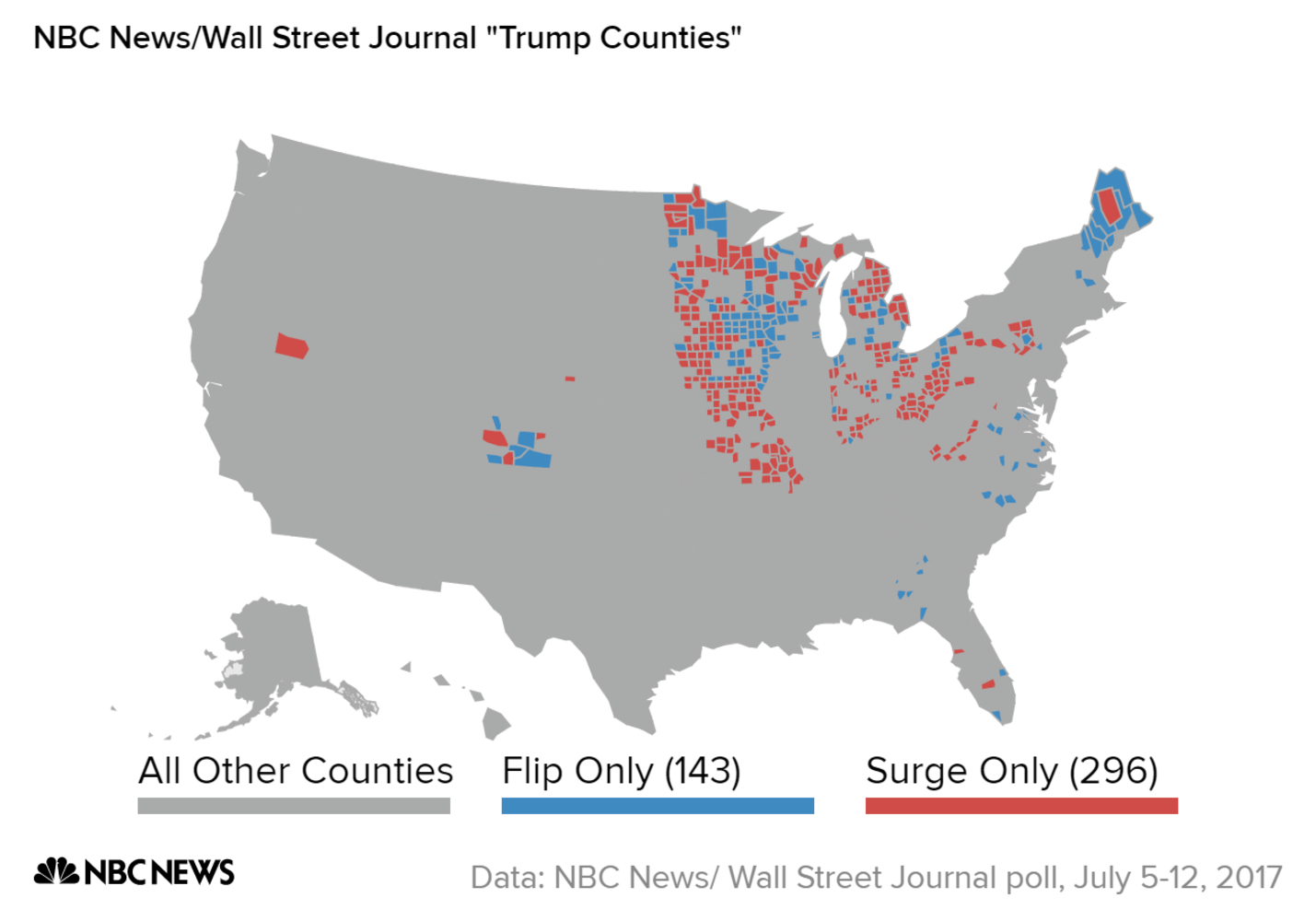 NBC NewsWSJ Poll Voters In Trump Counties Like His Policies Not - Trump voter coverage by county on us map