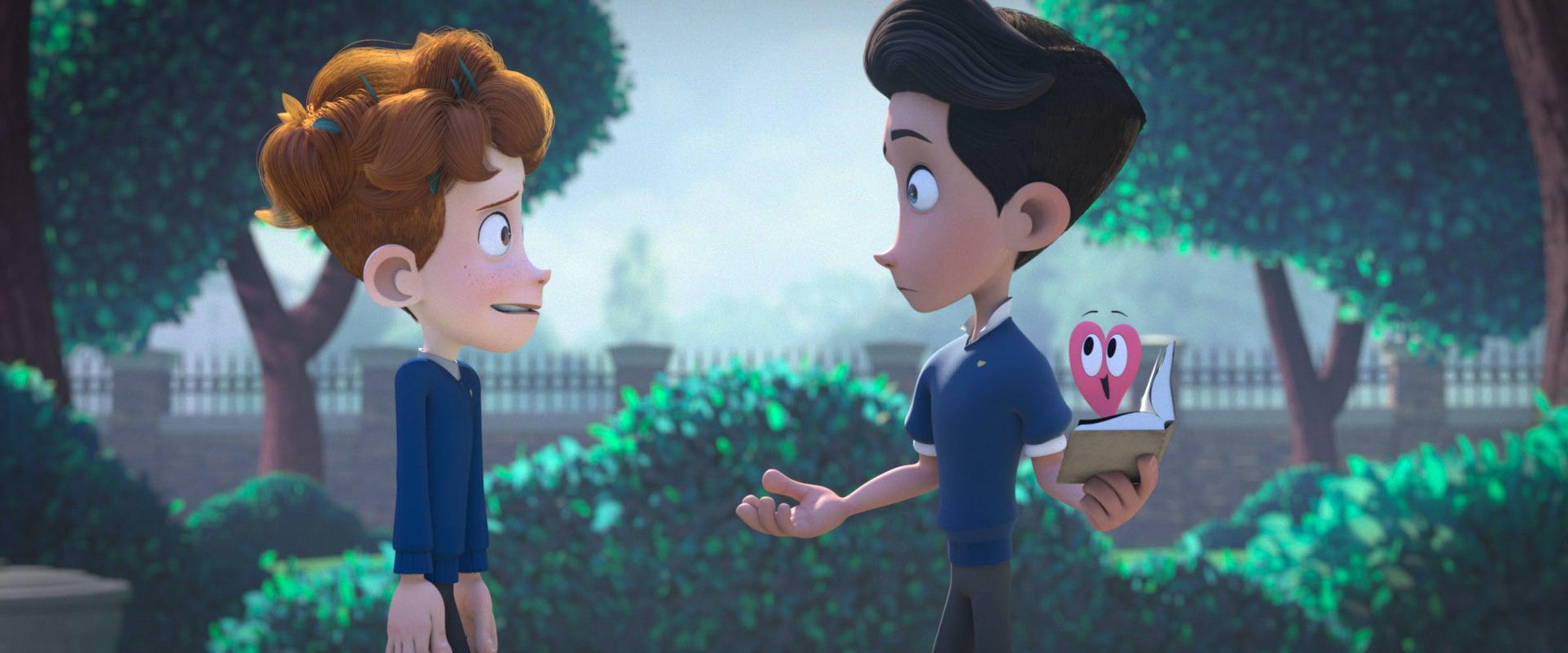 "Film still from ""In a Heartbeat"" Beth David and Esteban Bravo"