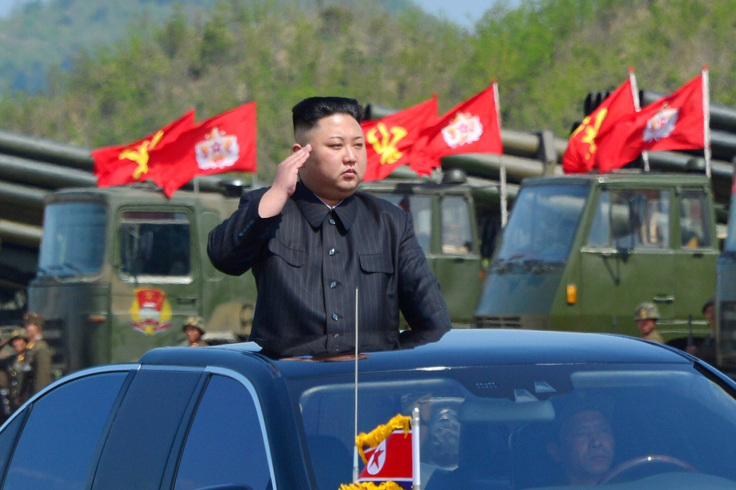Kim Jong Un watches a military drill marking the 85th anniversary of the establishment of the Korean People's Army