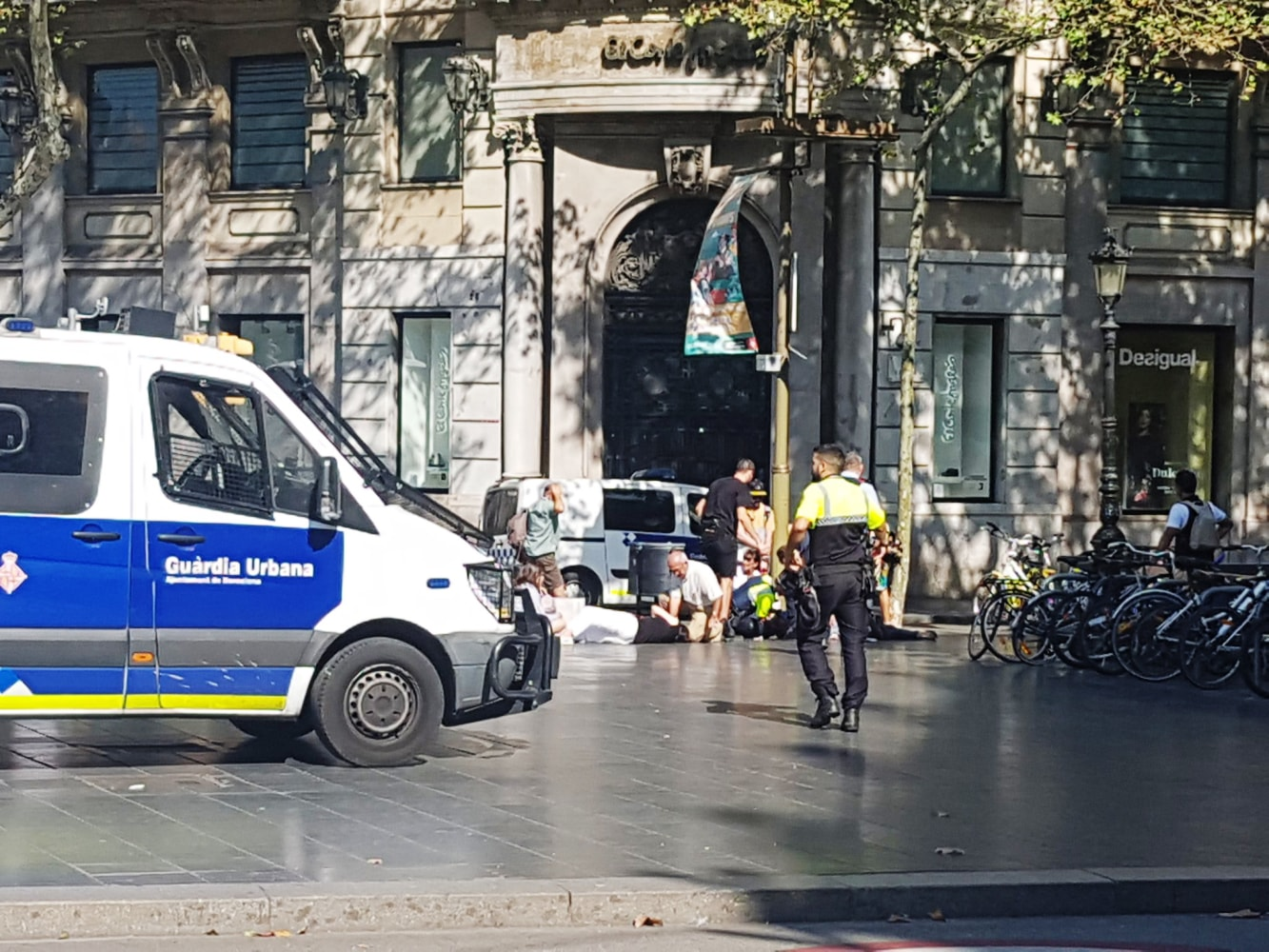 Police respond at an incident in Barcelona. Jordi Sans