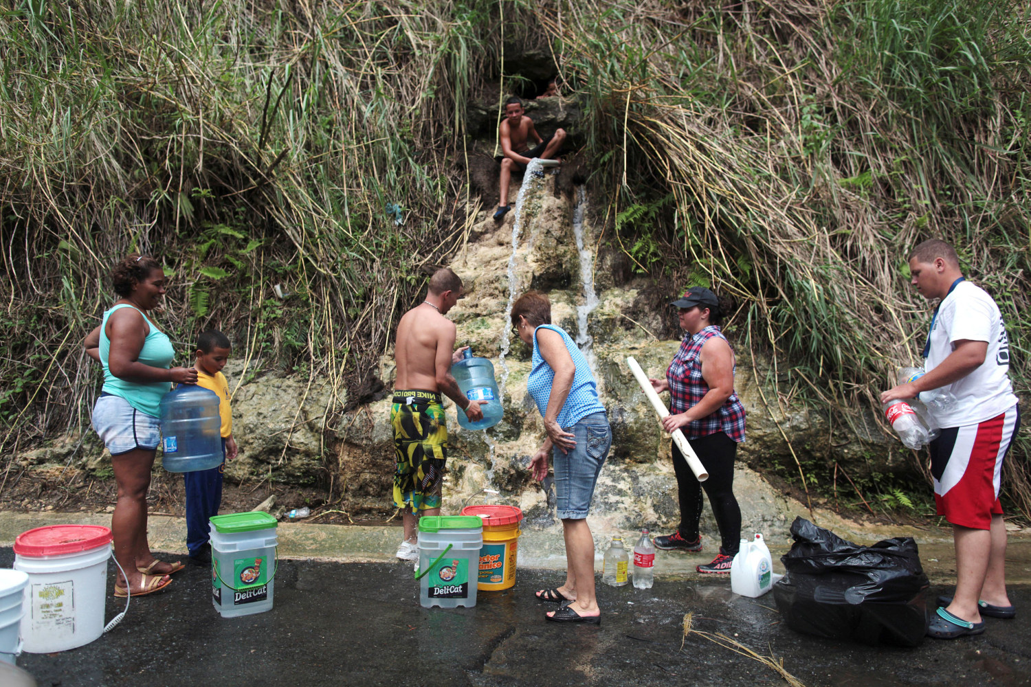Image: People collect mountain spring water, after Hurricane Maria hit the island, in Corozal