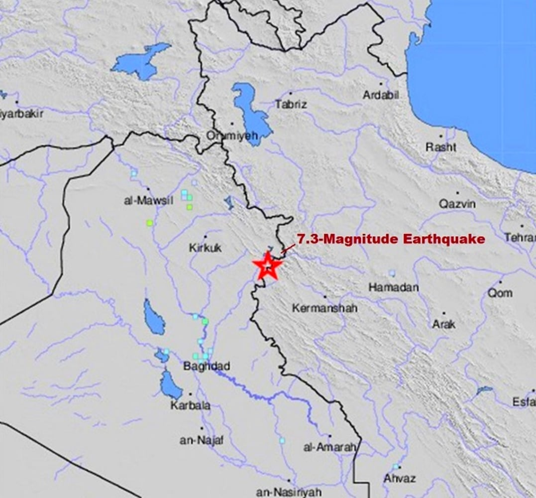 map iran iraq earthquake