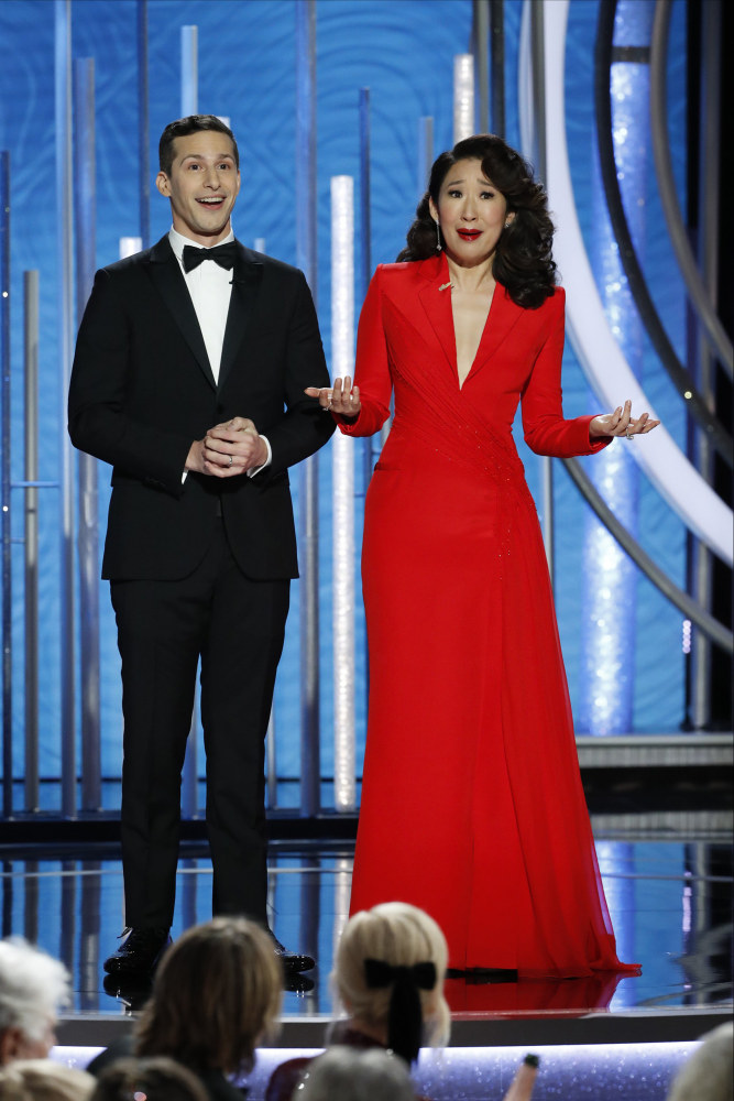 2fda144ac3 Golden Globes hosts Andy Samberg and Sandra Oh play it safe...for laughs