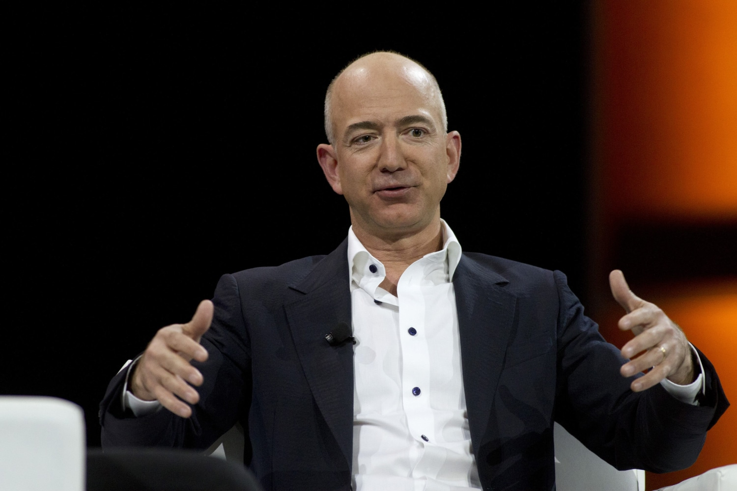 Amazon.com Chief Executive Officer Jeff Bezos speaks during a keynote ...