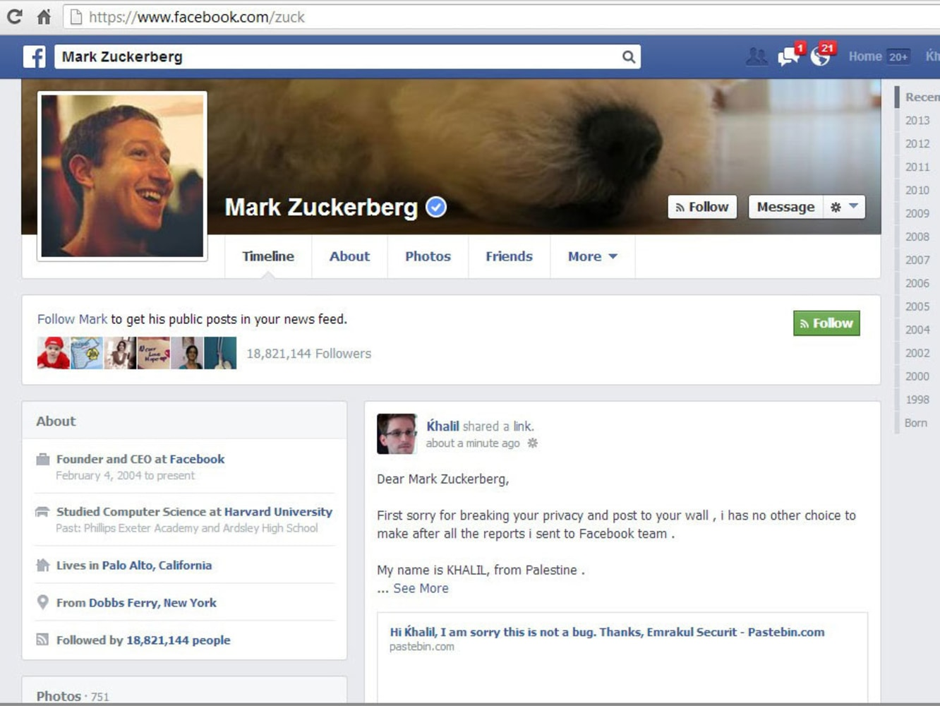 One way to get Facebook's attention: Hack Zuckerberg's personal page