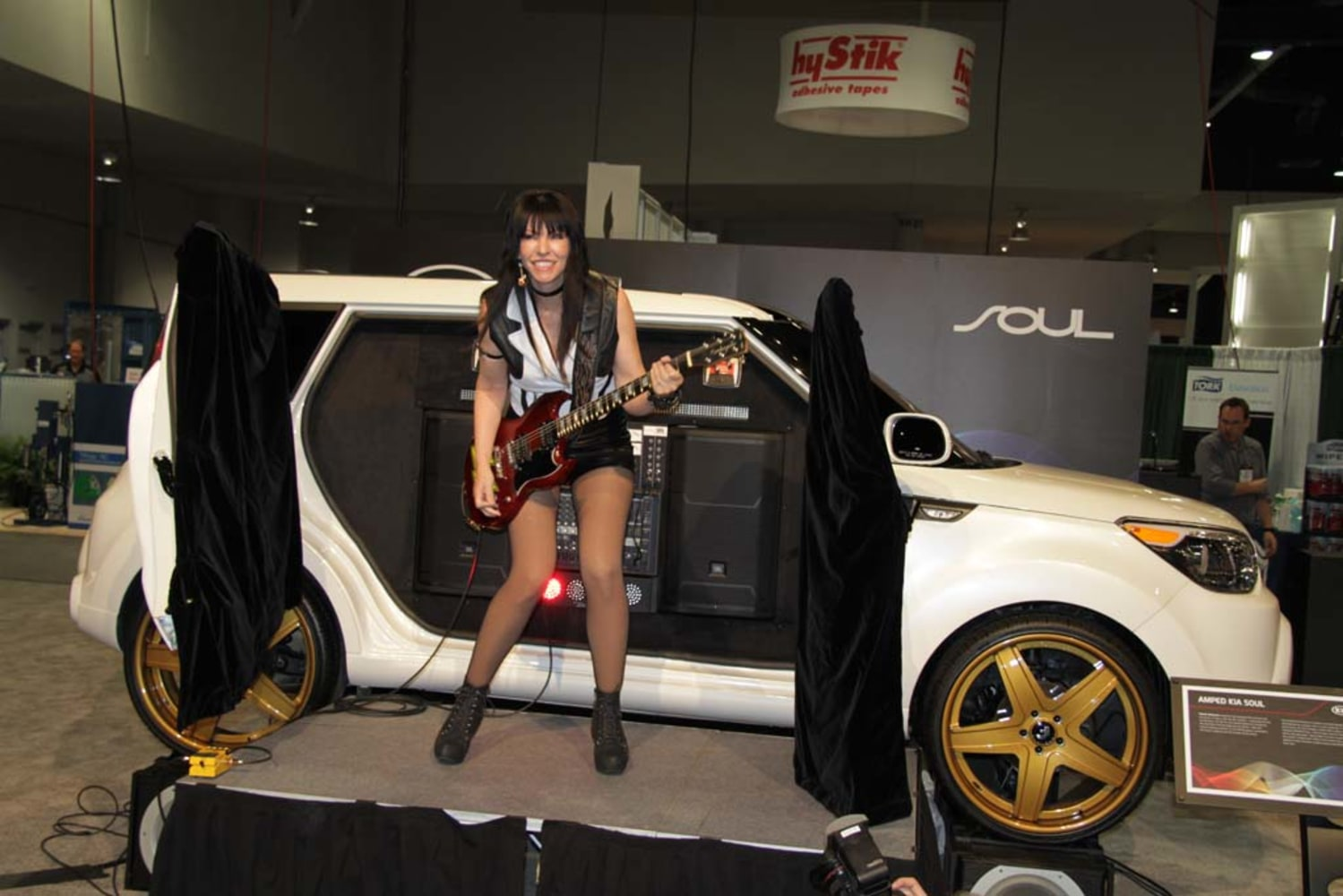 rocker leona x is seen here with the kia soul at the sema show in