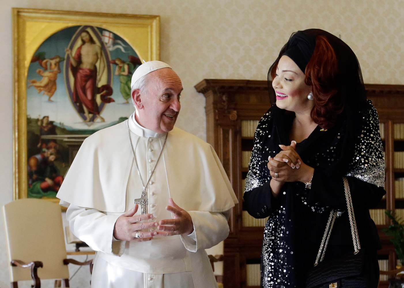 Pope francis meets cameroon s first lady chantal biya and her