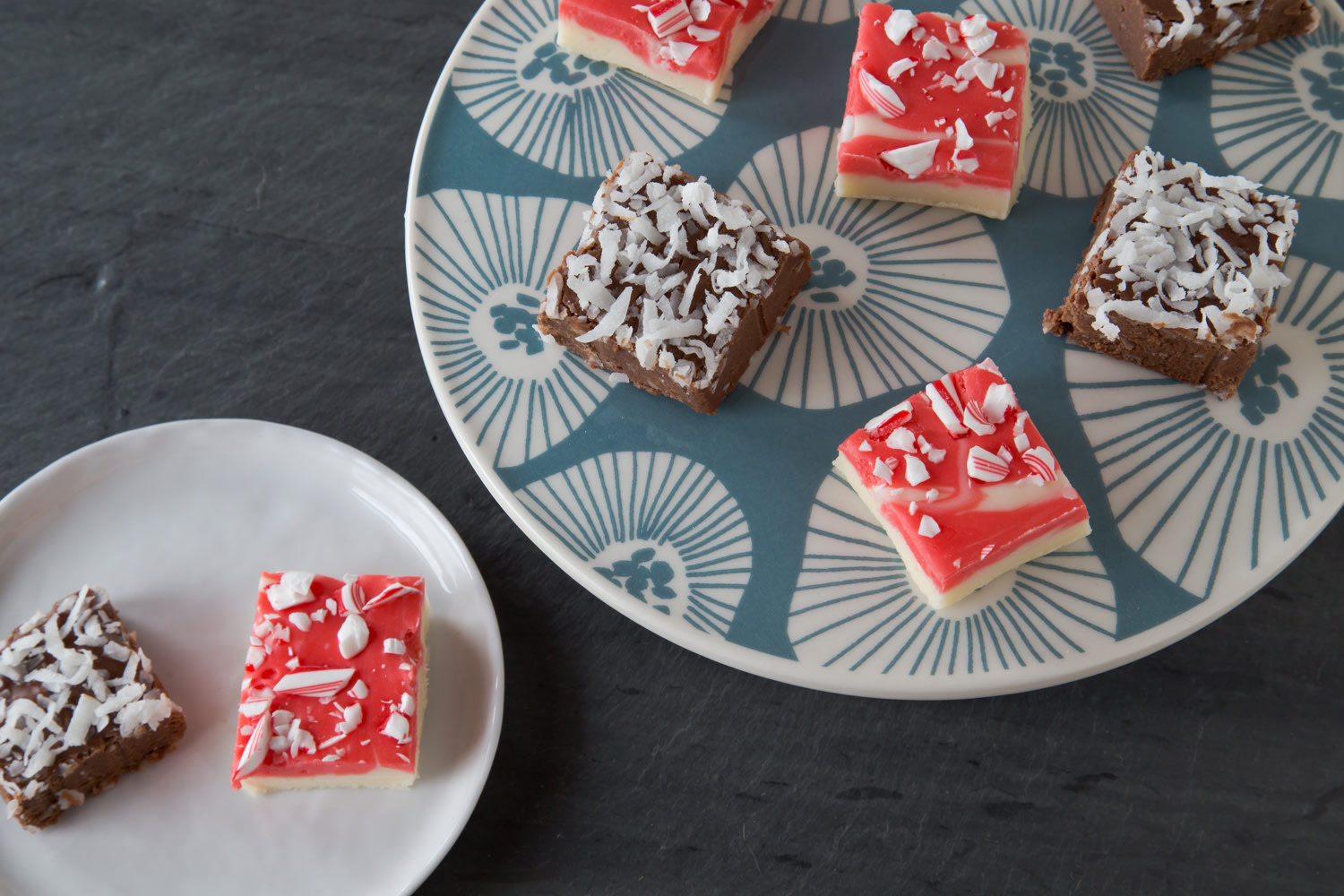 Candy cane fudge and chocolate-coconut fudge Casey Barber