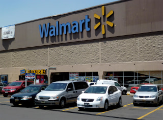 Image: View of a facade of Walmart supermarket