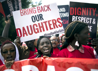 Image: Kenyan activists protest against the kidnapping of Nigerian school girls