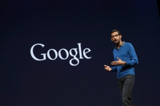 Image: Sundar Pichai, Senior Vice President for Products, delivers his keynote address during the Google I/O developers conference in San Francisco