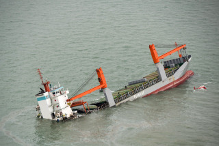 Image: Dutch ship sinks following collision in north Sea