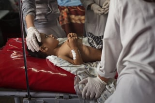 Image: Wahidullah, a four-year-old who was at the Doctors Without Borders hospital hit by a United States airstrike in Kunduz, is treated at another hospital in Kabul, Afghanistan.