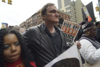 Image: Director Quentin Tarantino at a police rally in NYC.