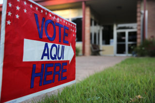 Image: English-Spanish Signs Front Election Center In Texas