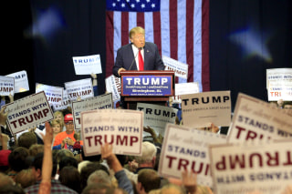 Image: U.S. Republican presidential candidate Donald Trump speaks at a rally at the Birmingham Jefferson Civic Complex in Birmingham