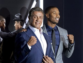 """Image: File photo of Sylvester Stallone and Michael B. Jordan during the premiere of the film """"Creed"""" in Los Angeles"""