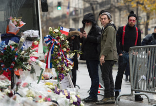 Image: Members of the Eagles of Death Metal outside the Bataclan on Dec. 8