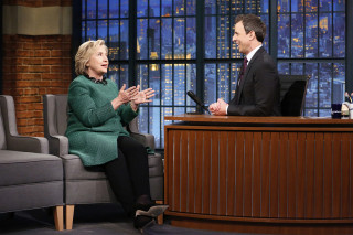 Image: Presidential candidate Hillary Clinton during an interview with host Seth Meyers
