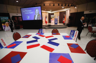 Image: A view shows the empty room where Marion Marechal-Le Pen, French FN political party member and candidate for National Front in the Provence-Alpes-Cote d'Azur region, will speak after the results in the second-round regional elections in Marseille