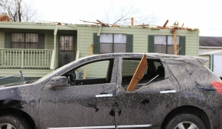 Image: Damage caused by a tornado is seen in a neighborhood in Birmingham