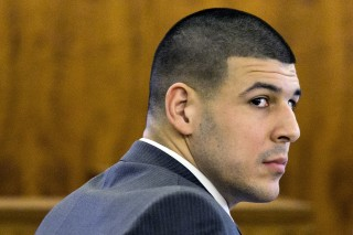 IMAGE: Aaron Hernandez  at trial in March