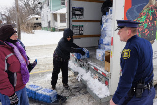 IMAGE: Bottled water distributed in Flint, Michigan