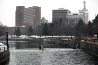 Image: The Flint River flows in downtown in Flint