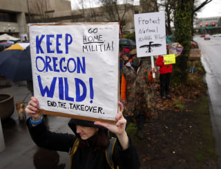 Image: Protest of the occupation of the Malheur National Wildlife Refuge
