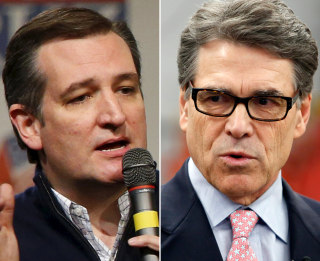 Image: A composite image of Republican presidential candidate Senator Ted Cruz (L) and former Republican Texas Gov. Rick Perry