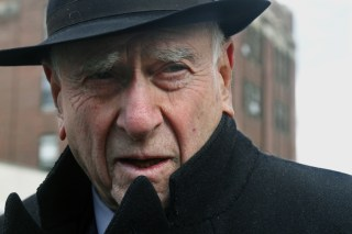 Image: Judge Jack Weinstein speaks with reporters after visiting the Louis Armstrong housing projects in Brooklyn in 2011.