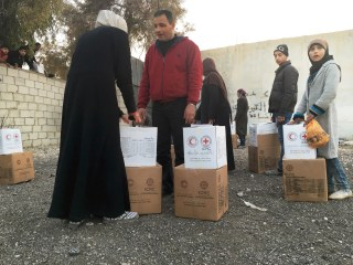 Image: Families receive food and hygiene kits in Moadamiya