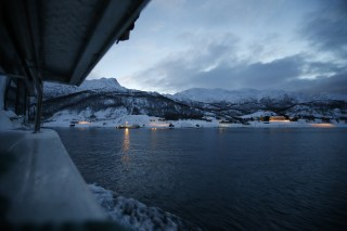 Image: The morning ferry arrives at the island of Seiland, Norway