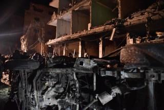 Image: Bomb site near Damascus, Syria