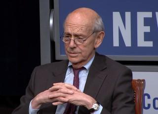 Image: Pete Williams interviews Justice Stephen Breyer