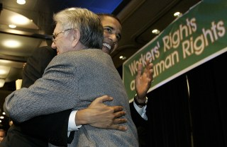 Image: Barack Obama hugs Dr. Quentin Young