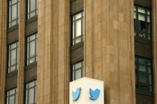 The Twitter logo is shown at its corporate headquarters  in San Francisco
