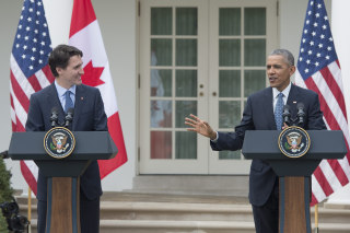 Image: US President Barack Obama and Prime Minister of Canada Justin Trudeau joint press conference